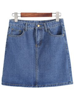 No Boundaries - No Boundaries Juniors Basic Denim Skirt - Walmart.com