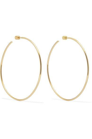 "Jennifer Fisher   3"" Thread gold-plated hoop earrings   NET-A-PORTER.COM"