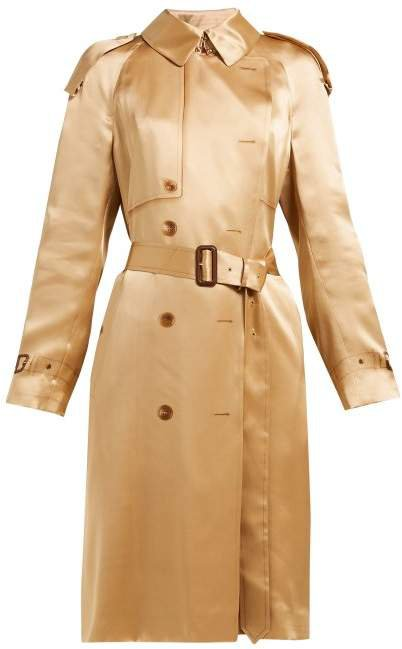 Double Breasted Silk Satin Trench Coat - Womens - Beige