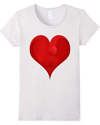 Fall Sale: Womens Big Red Heart T-shirt Large White