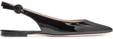Patent-leather Slingback Flats - Black