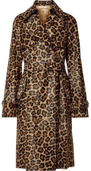 Leopard-print Calf Hair Trench Coat - Leopard print
