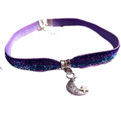 Purple Velvet Choker (moon pendant)
