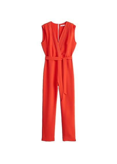 MANGO Blond-lace appliqué jumpsuit