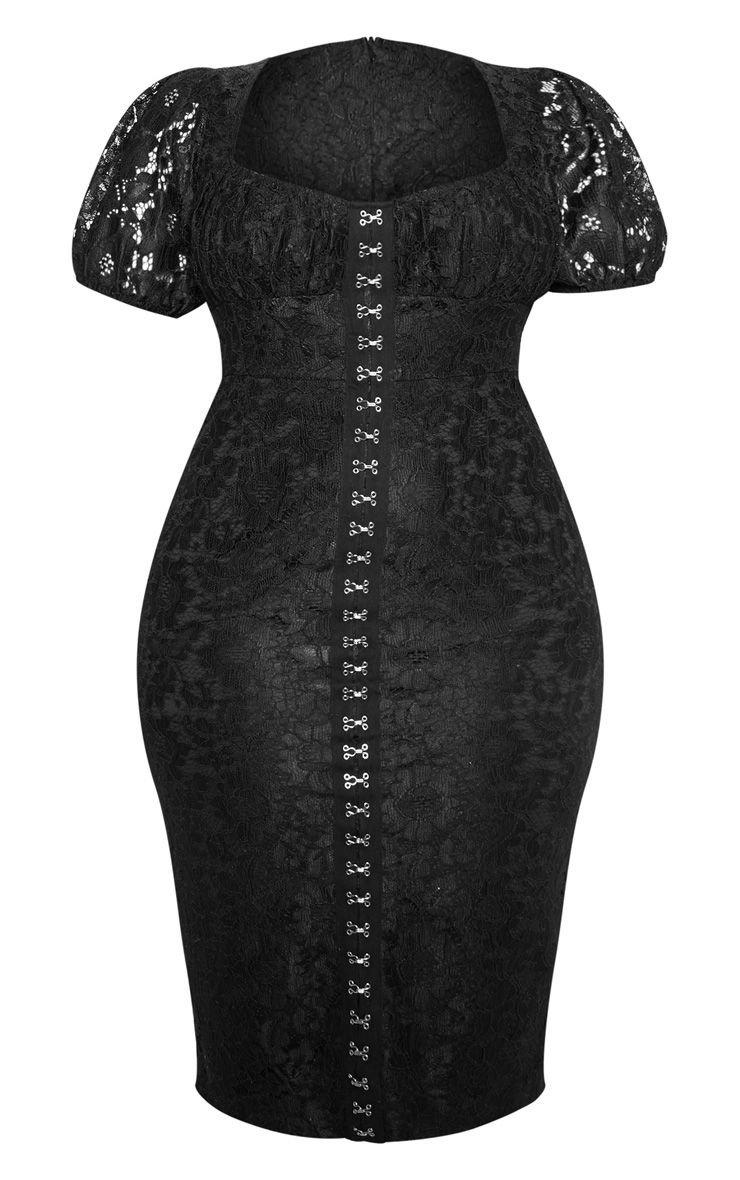 Black Lace Puff Sleeve Midi Dress | Dresses | PrettyLittleThing USA
