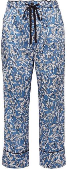 Victoria, Cropped Printed Satin-twill Straight-leg Pants - Blue