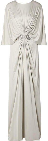 Reem Acra - Draped Embellished Silk-jersey Maxi Dress - Silver