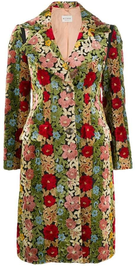 floral print single-breasted coat