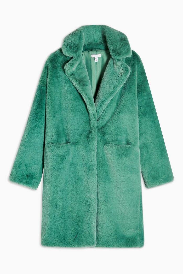 Sage Faux Fur Midi Coat | Topshop