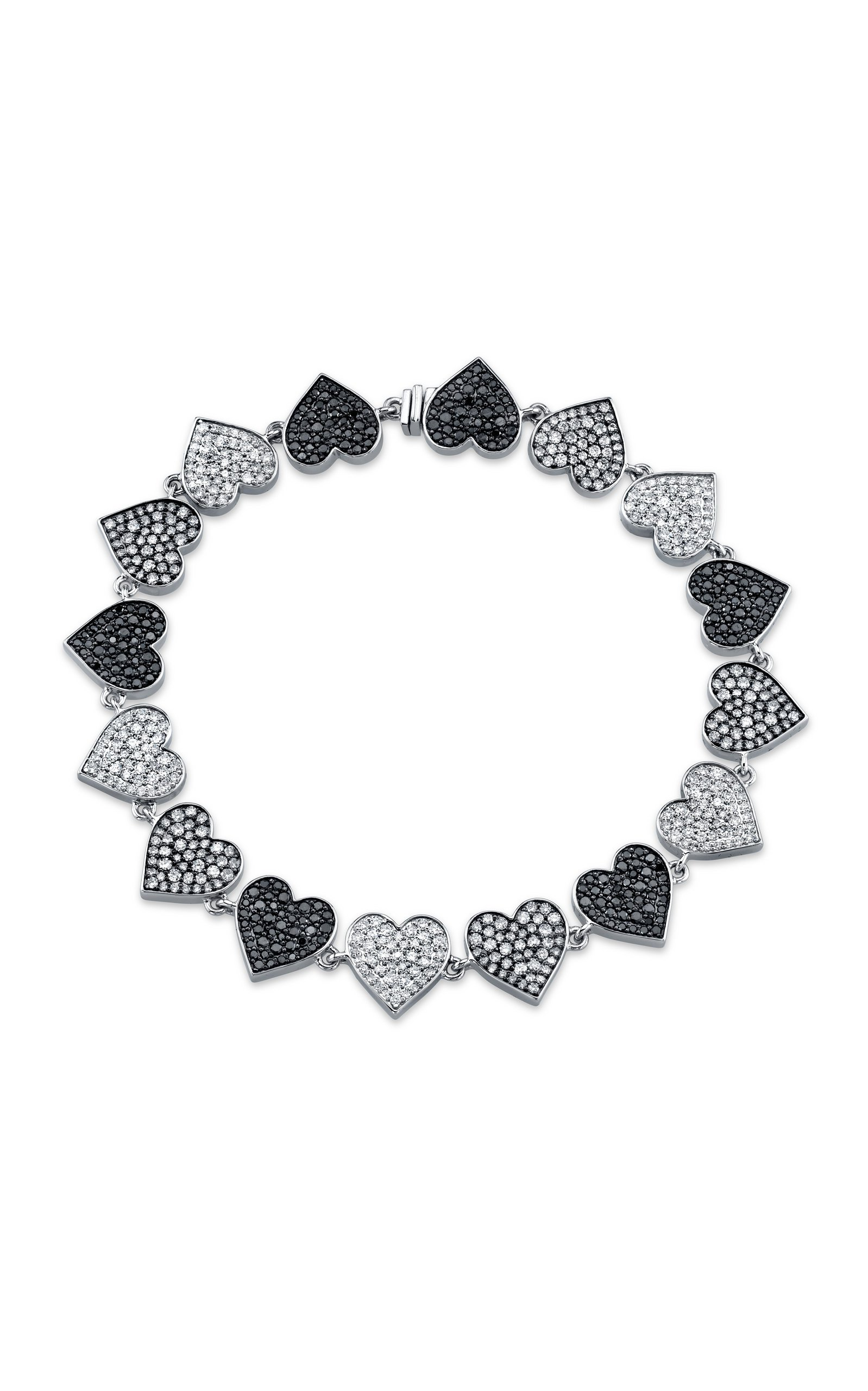 Black And White Heart Link Bracelet by Sydney Evan | Moda Operandi