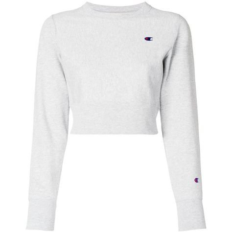 Champion cropped style sweatshirt ($92) ❤ liked on Polyvore featuring tops, hoodies, sweatshirts, grey, grey crop top, cut-out crop tops, ro… | fashion | Pinte…