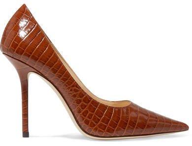 Love 100 Croc-effect Leather Pumps - Tan