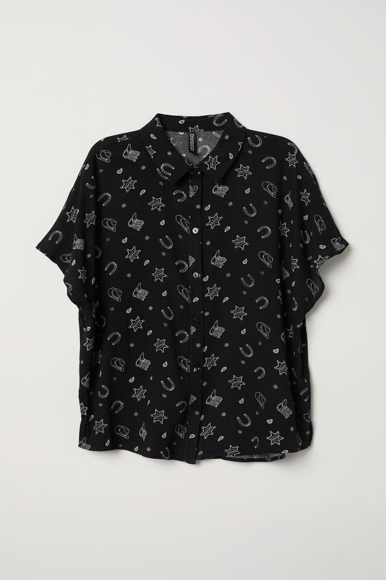 Crêped Blouse - Black/patterned - Ladies | H&M US