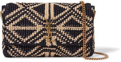 Kate Medium Raffia Shoulder Bag - Black