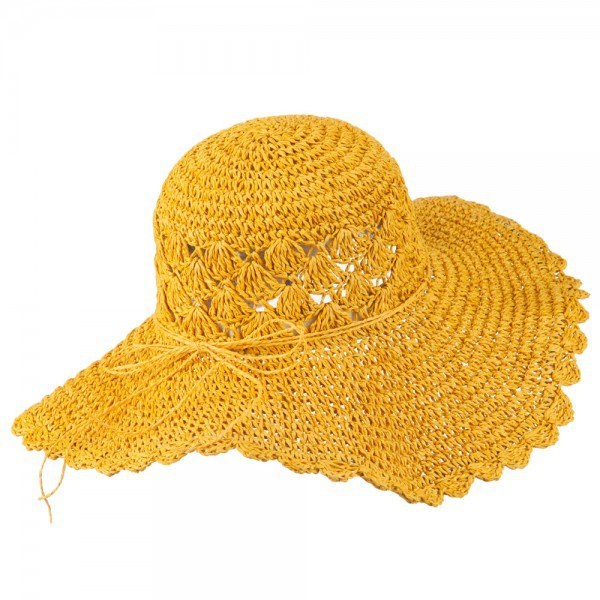 Dressy - Mustard Women's Scallop Crushable Hat | Coupon Free | e4Hats.com