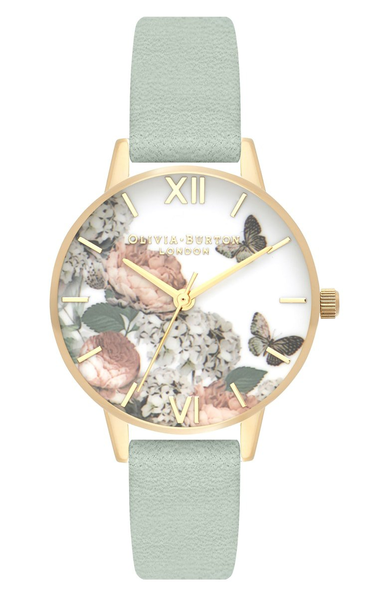 Olivia Burton Signature Floral Leather Strap Watch, 30mm | Nordstrom