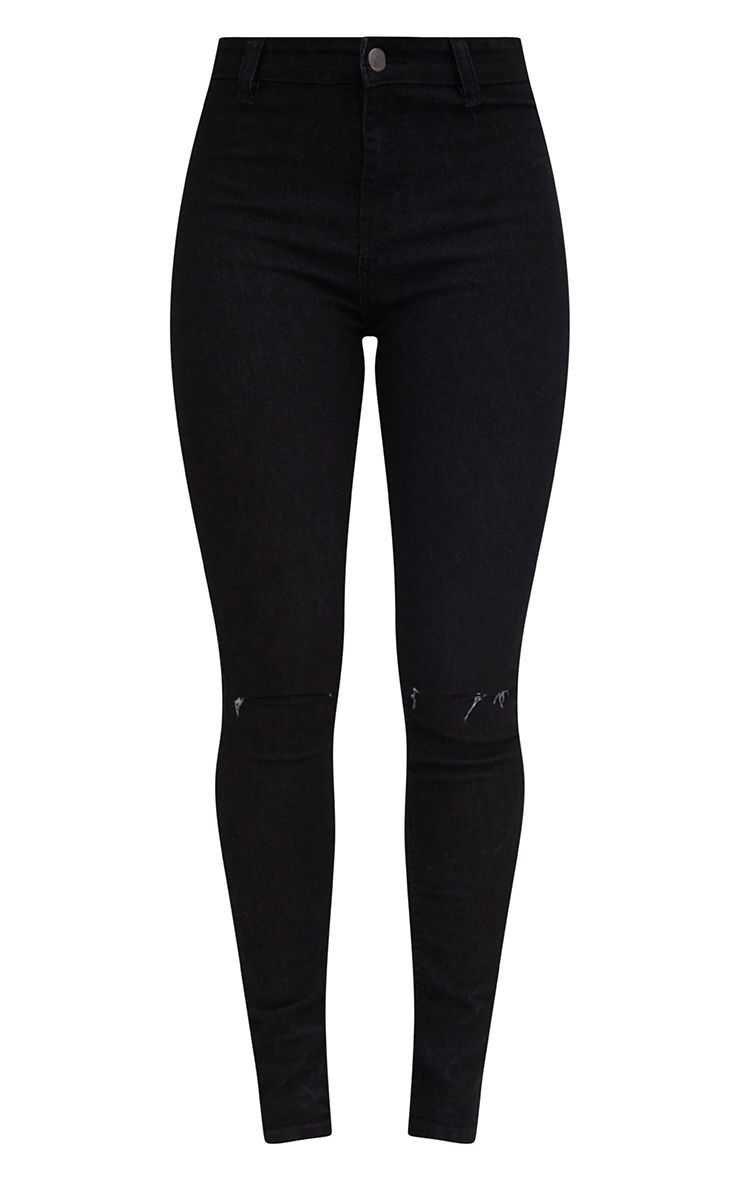 Black Knee Rip Disco Skinny Jean | Denim | PrettyLittleThing