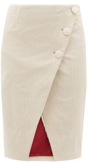 Asymmetric Cotton Blend Jumbo Corduroy Wrap Skirt - Womens - Cream