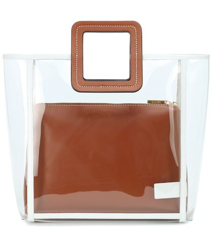 Framed Shirley PVC and leather tote