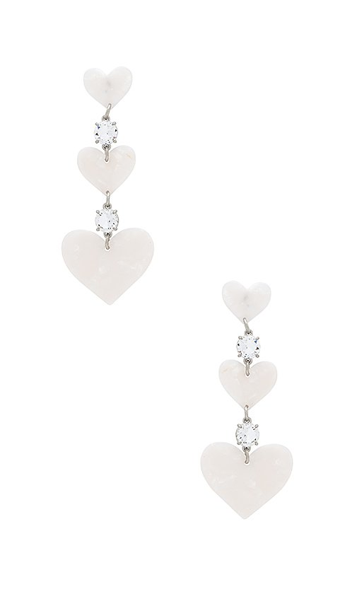 For Love & Lemons Heart Drop Earrings in White Pearl