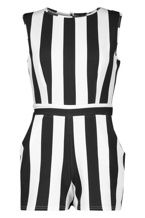 Petite Monochrome Stripe Playsuit | Boohoo