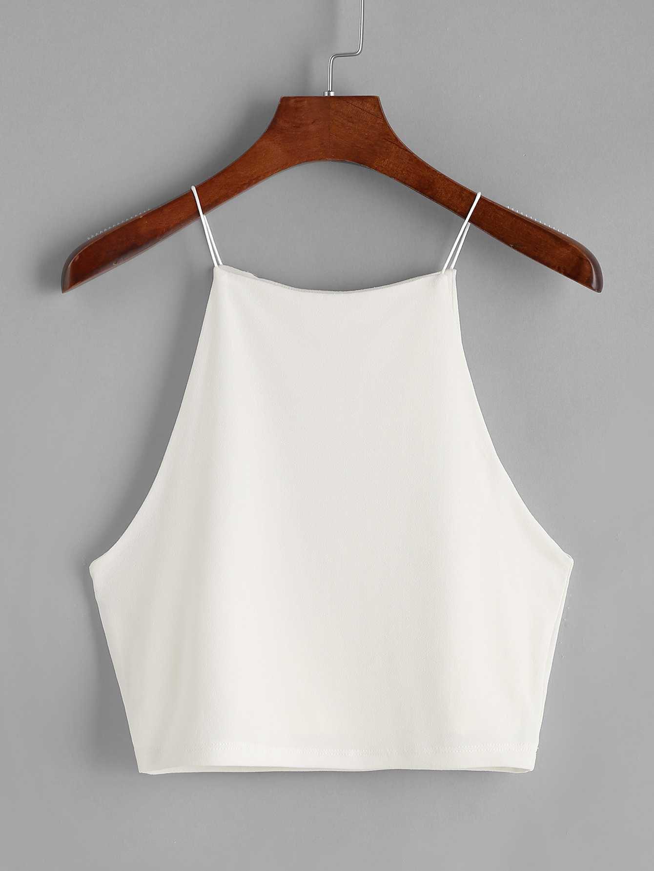 White Crop Cami TopFor Women-romwe