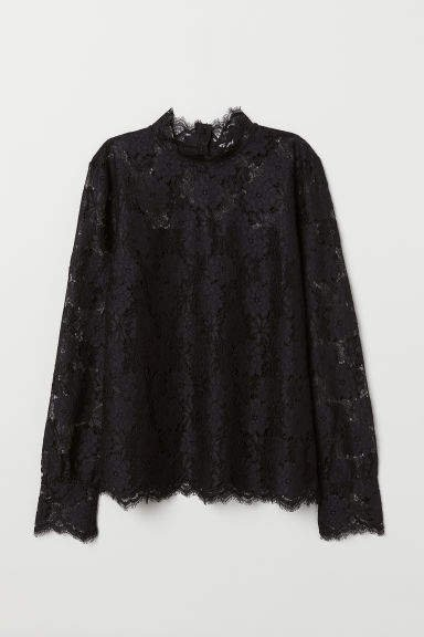 Long-sleeved Lace Top - Black