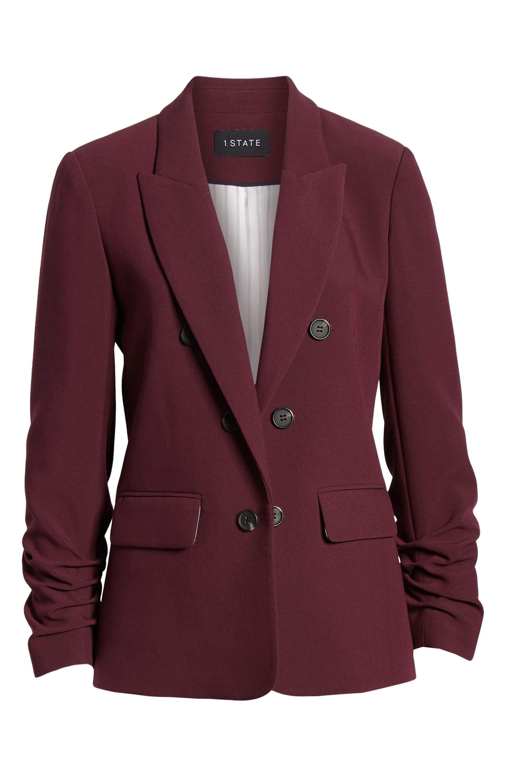 1.STATE Ruched Sleeve Stretch Crepe Blazer | Nordstrom