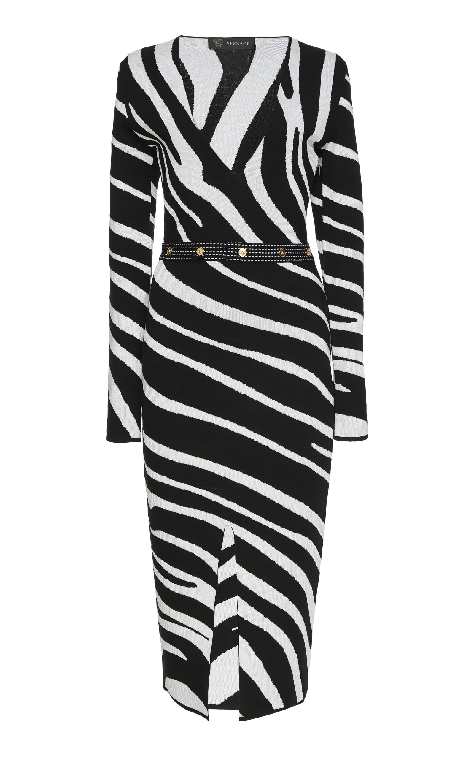 Bella Freud- Zebra Print Satin Midi Dress