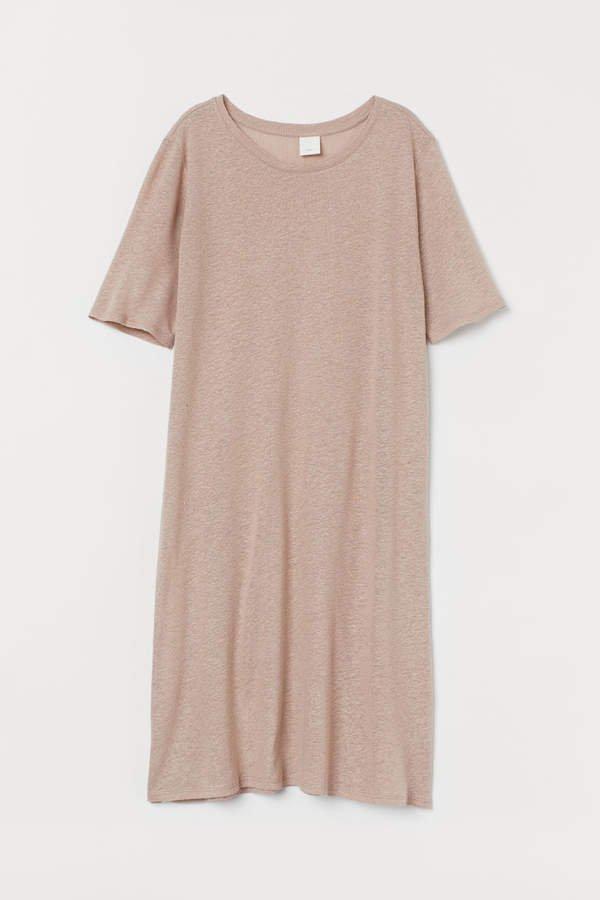 Linen-blend T-shirt Dress - Beige