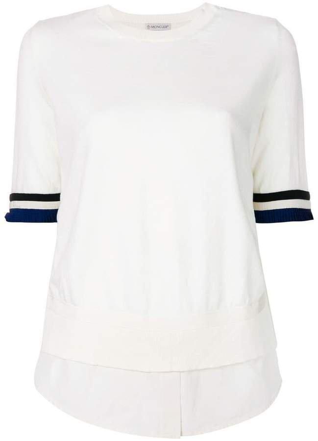 knitted shirt-effect layered T-shirt