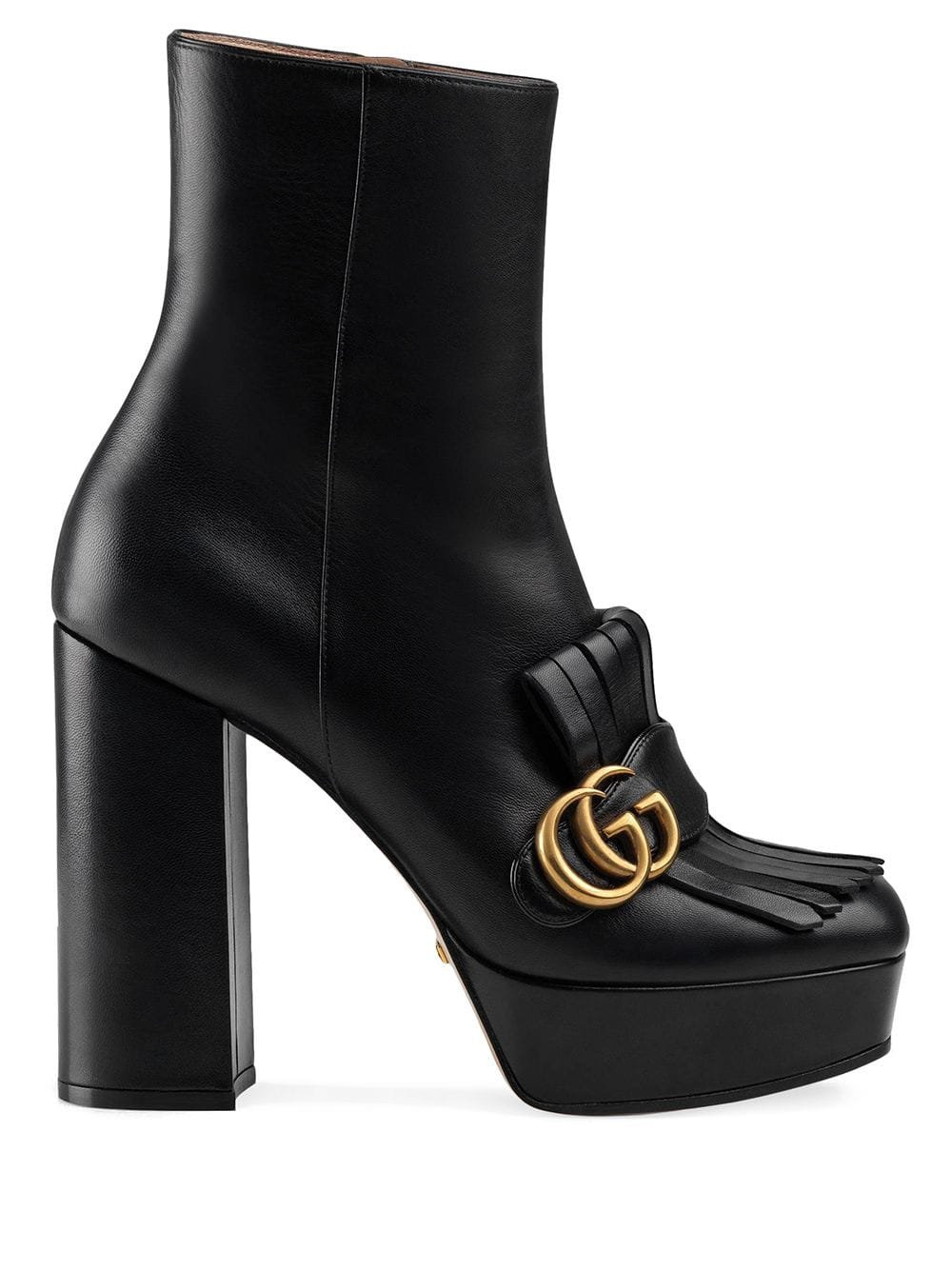 Black Gucci Leather Ankle Boot With Plateau And Fringe   Farfetch.com