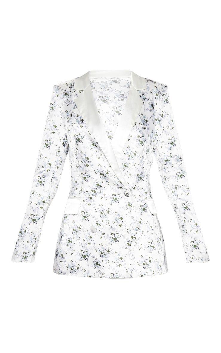 White Ditsy Floral Print Longline Satin Mix Blazer   PrettyLittleThing USA