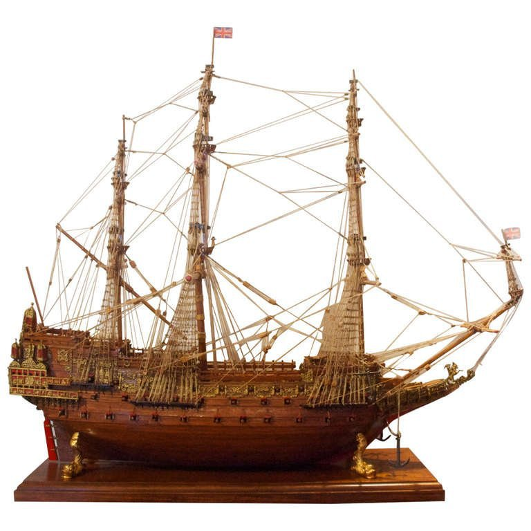 "Ship Model ""Sovereign of the Seas "" a 17th-century warship of the English Navy For Sale at 1stdibs"