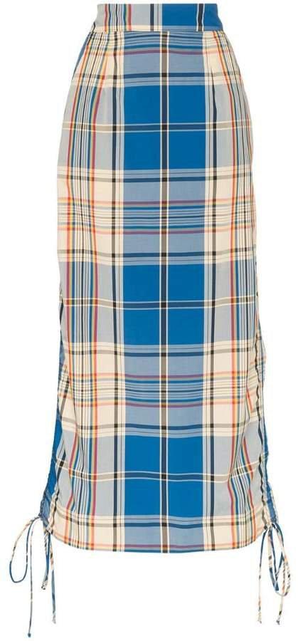 high-waisted check midi skirt