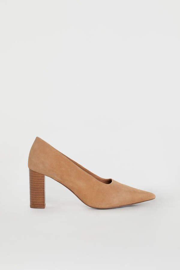 Block-heeled Pumps - Beige