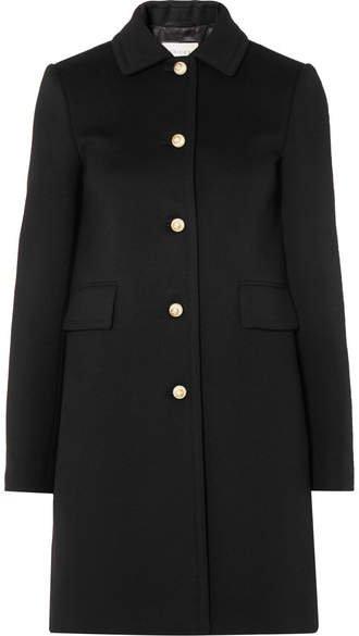 Faux Pearl-embellished Wool Coat - Black