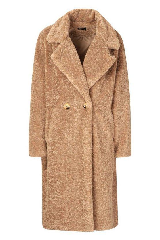 Oversized Textured Faux Fur Coat Brown | Boohoo