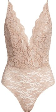 Leith Plunge Neck Sleeveless Lace Bodysuit | Nordstrom