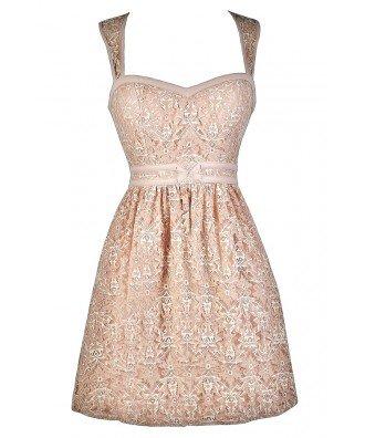 Nude Pink Lace Dress, Cute Lace Dress, Pink Dress Lily Boutique
