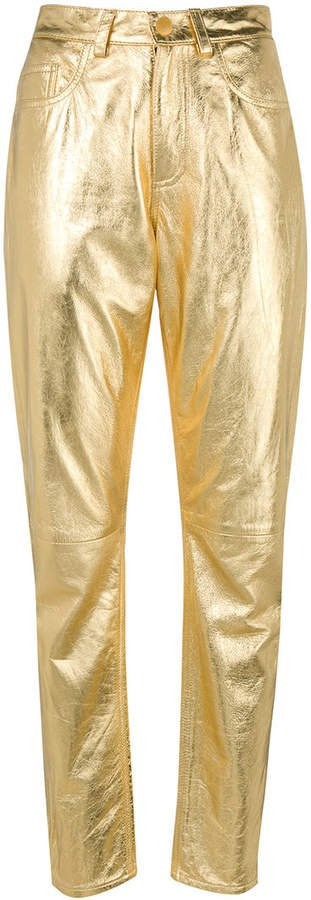 metallic leather trousers