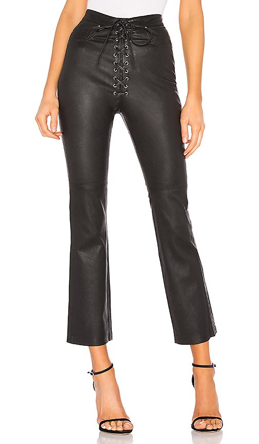 LPA Fei Leather Moto Pants in Black | REVOLVE