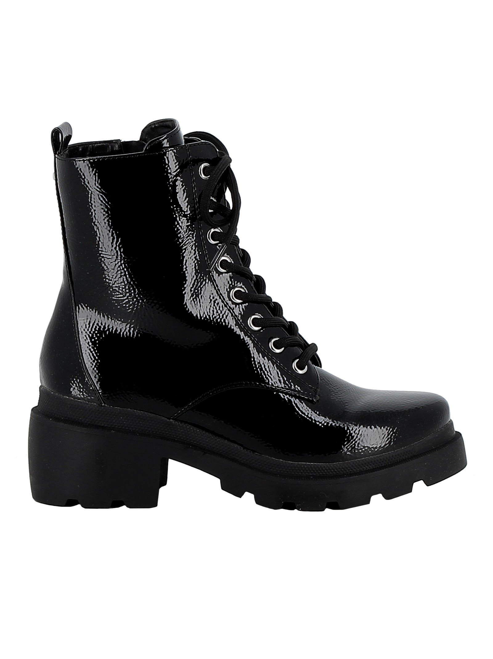 Kendall+kylie Black Patent Leather Ankle Boots