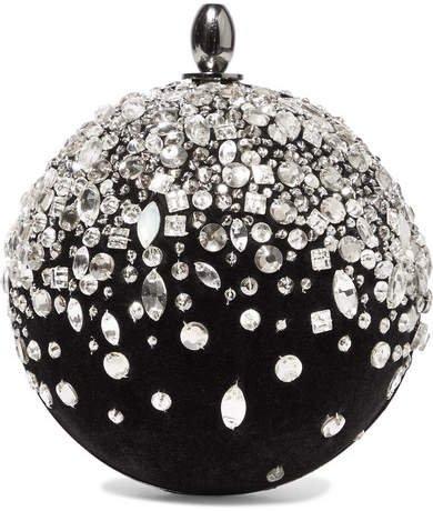 Crystal-embellished Velvet Clutch - Black