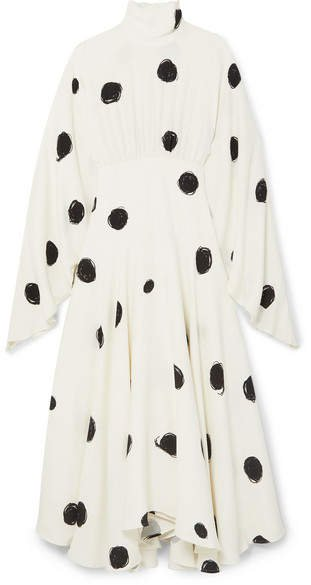 Pleated Printed Crepe De Chine Maxi Dress - White