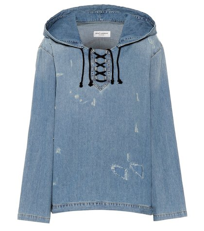 Destroyed denim hoodie