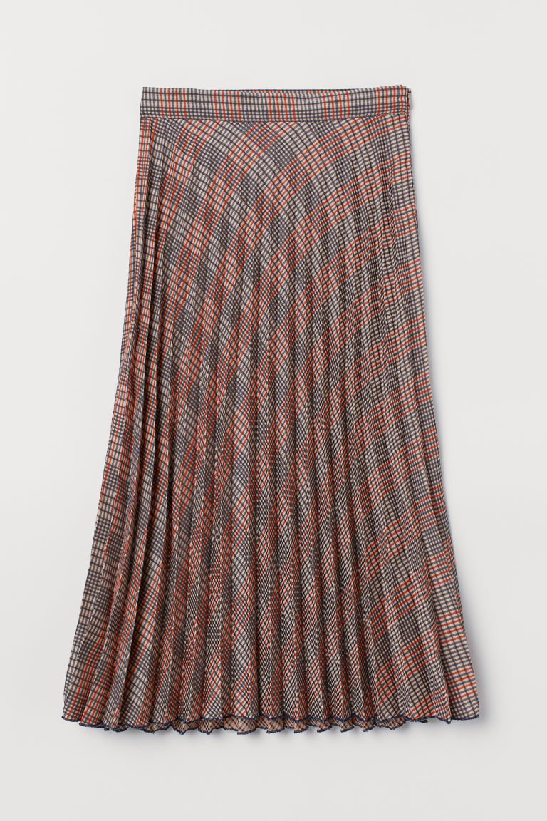 Pleated Skirt - Beige/checked - Ladies | H&M US