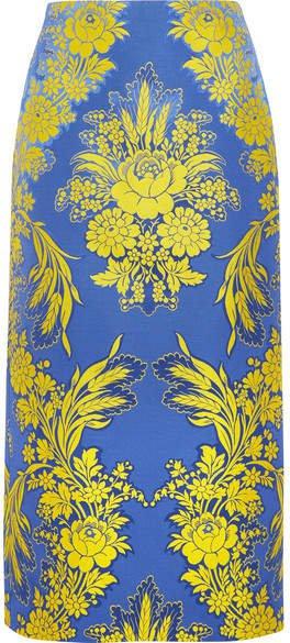 Floral-jacquard Midi Skirt - Blue