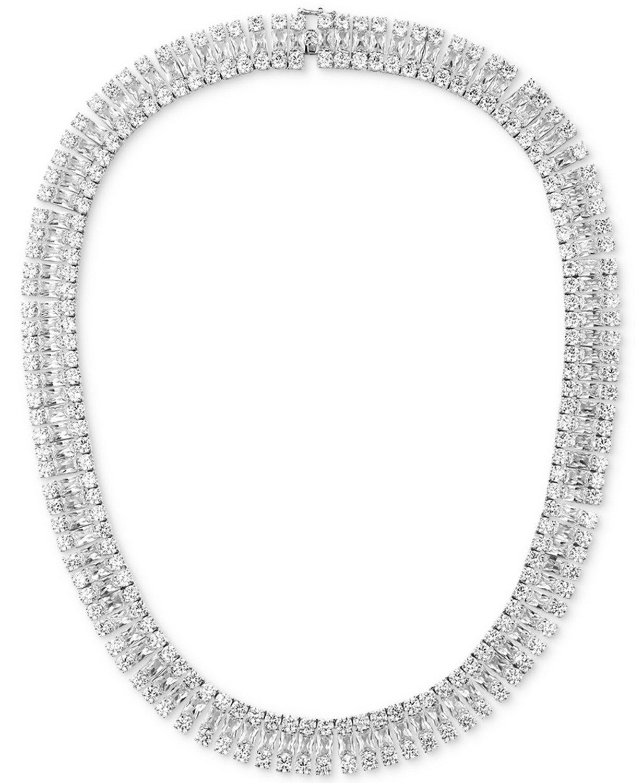 "Tiara Sterling Silver Cubic Zirconia Cleopatra 18"" Collar Necklace"