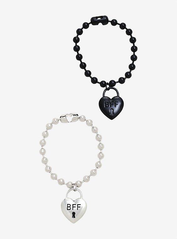 Padlock & Ball Chain Best Friend Bracelet Set